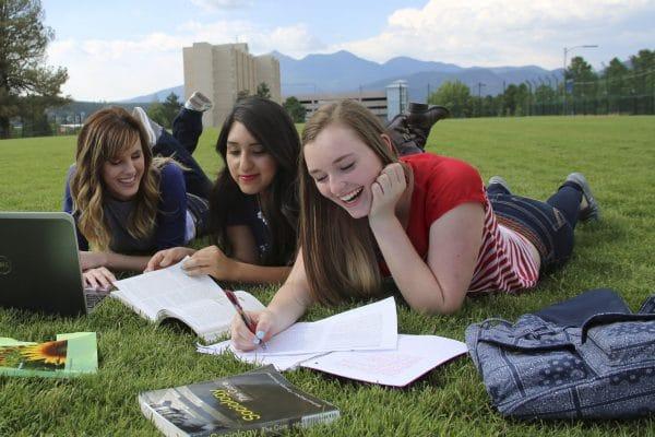 Girls study in grass