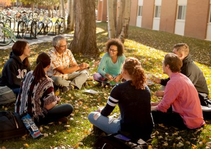 NAU honors students enjoy their small class size outside.
