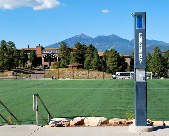 Emergency blue light phones on the NAU campus.