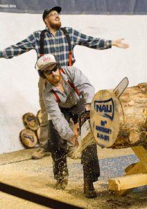 "NAU Lumberjacks cut a ""tree cookie"" when athletics teams score."