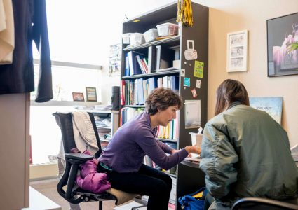 An engaged faculty member talks with a student at a desk in her office while they review paperwork together.
