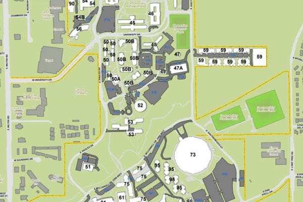 An overhead map of N A U from south Milton road in the west to Lone Tree road in the east and west University drive in the north to east Pine Knoll drive in the south. Buildings are white with the building number, parking lots are dark gray, and fields are green. The overall map is light green.