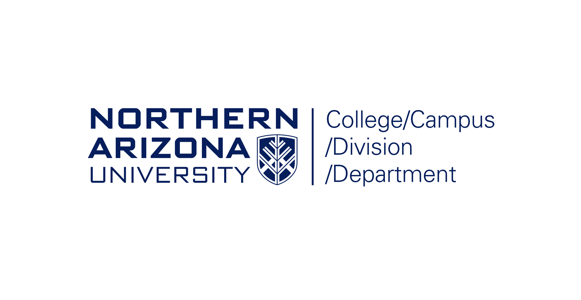 The Northern Arizona University primary college, campus, division, and non-academic department logo. The logo is divided by a blue vertical line. On the left, the N A U logo is stacked vertically with the N A U shield in the bottom right. On the right, the college, campus, division, and department text are separated by forward slashes and stacked vertically. The text is blue over a white background.