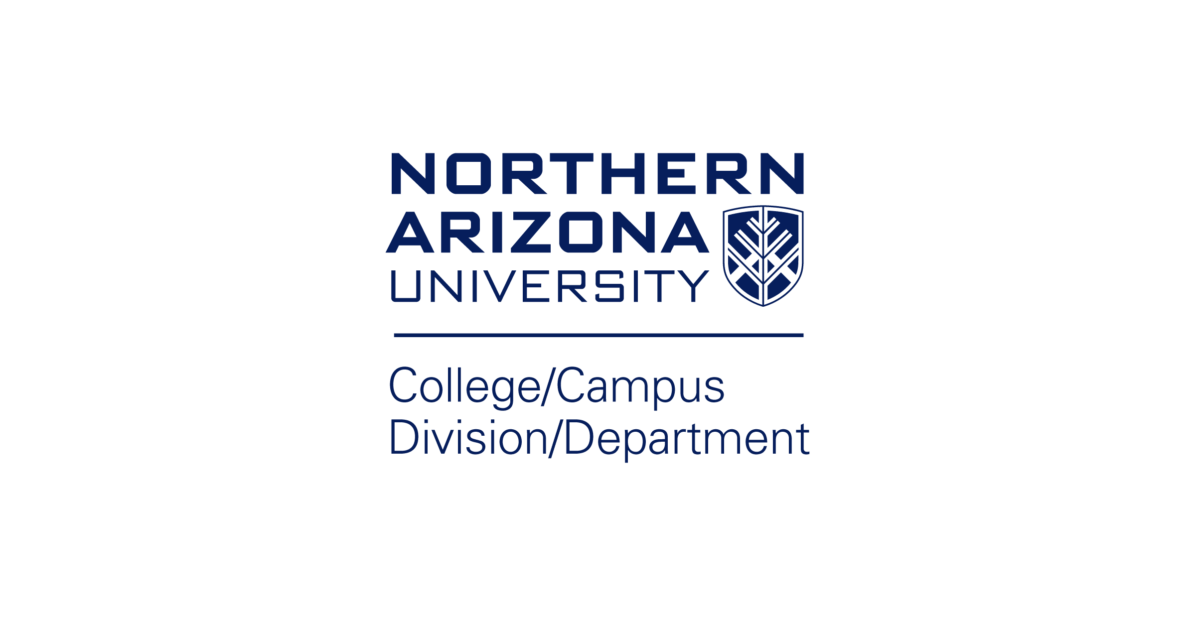 The Northern Arizona University vertical college, campus, division, and non-academic department logo. The logo is divided by a blue horizontal line. On the top, the N A U logo is stacked vertically with the N A U shield in the bottom right. On the bottom, the college, campus, division, and department text are separated by forward slashes and stacked vertically. The text is blue over a white background.
