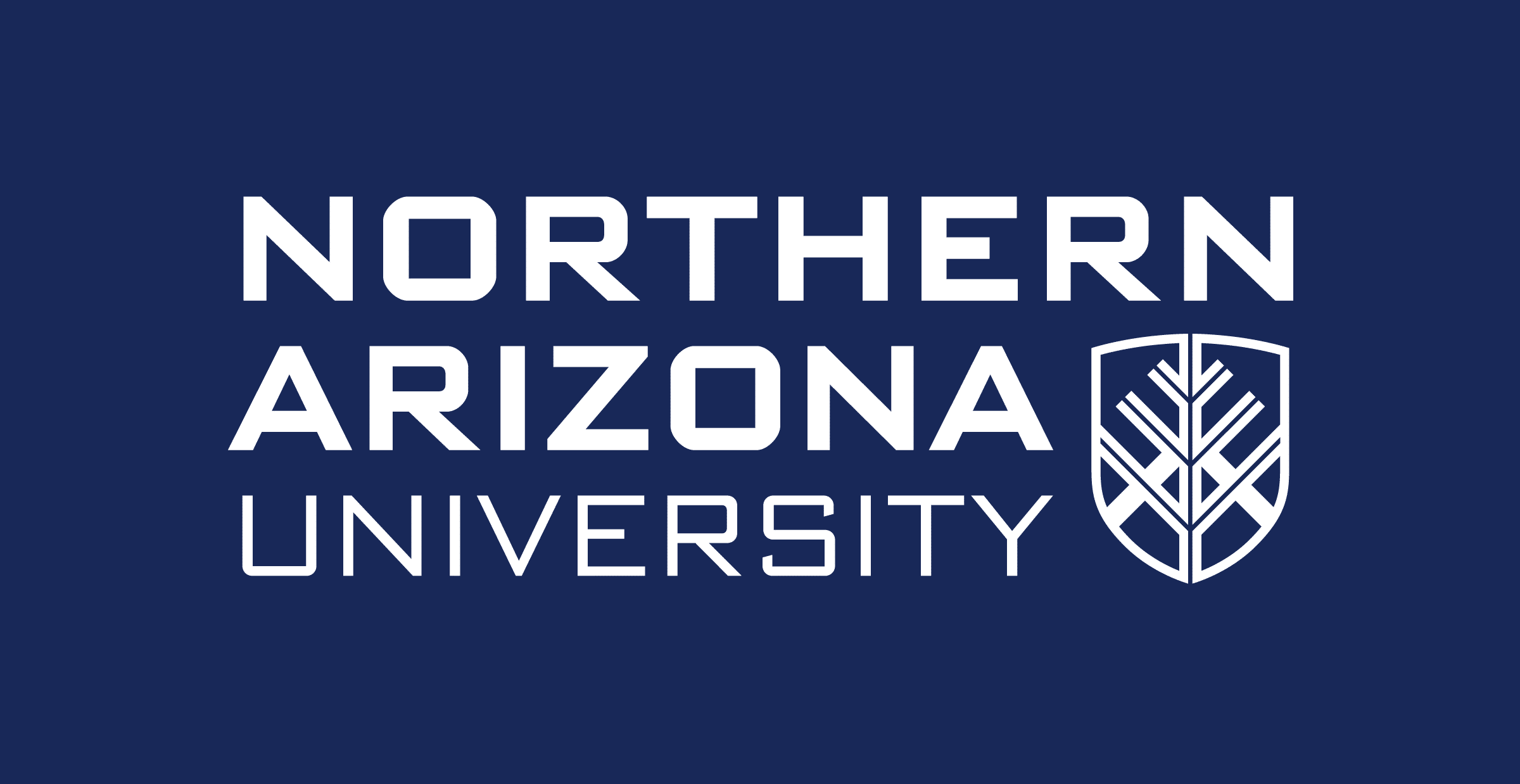 The Northern Arizona University primary logo with each work stacked on the other vertically and the N A U shield appearing at the bottom right. The text is white over a blue background.