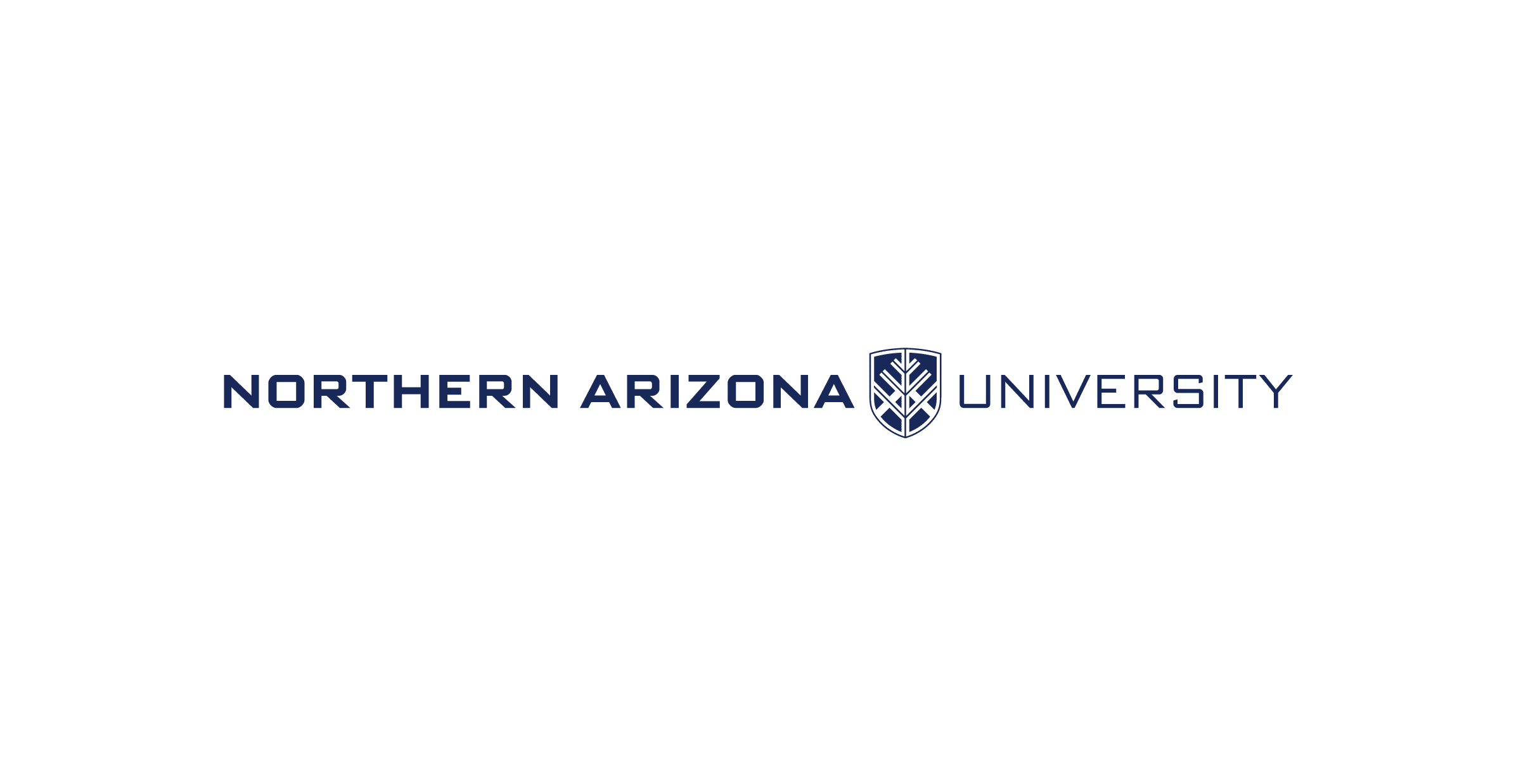 "The Northern Arizona University secondary logo with each word arranged horizontally and the N A U shield appearing between ""Arizona"" and ""University"". The text is blue over a white background."