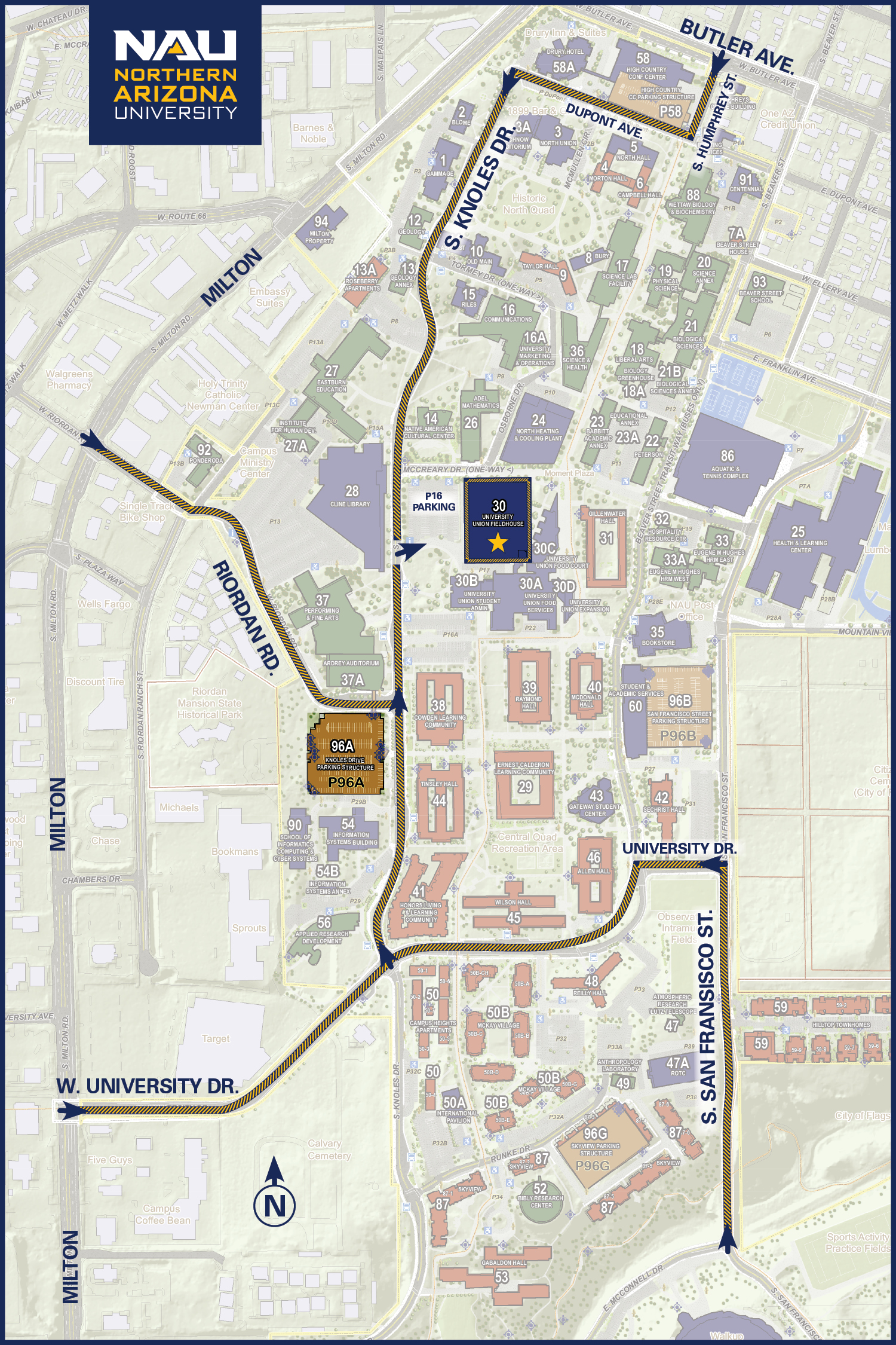 Map to get to NAU Fieldhouse