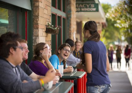 flagstaff residents close to nau campus enjoy lunch outside