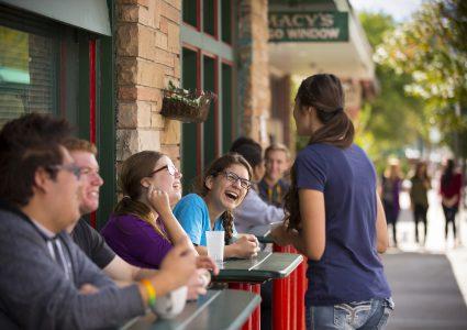 flagstaff residents close to nau campus enjoy lunch outside