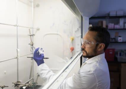 Robert Kellar working in lab