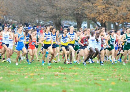 NAU cross country runners in middle of pack during championship run