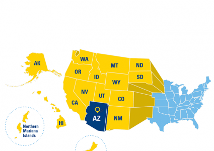 Western Undergraduate Exchange map showing qualifying states and terroritories.