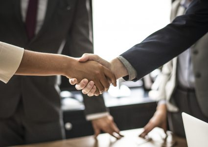 Two people shaking hands on an agreement.