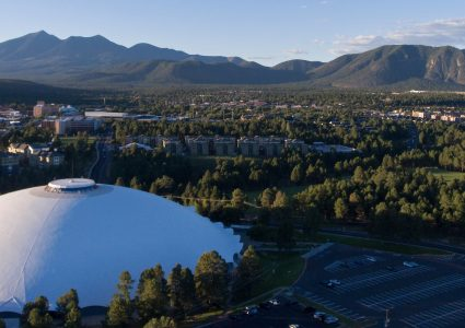 photo of nau campus in flagstaff taken from a drone