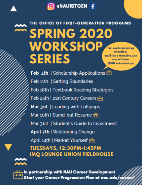 Workshop dates in Feb, March, and April