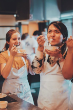 students eating rice