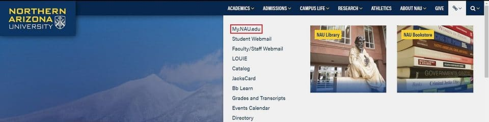 Go to MyNAU from the NAU homepage