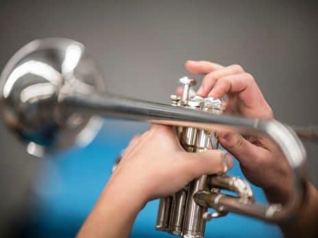 a close-up of a trumpet
