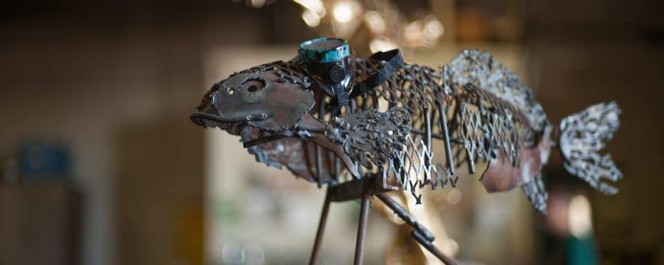 Metal sculpture of fish