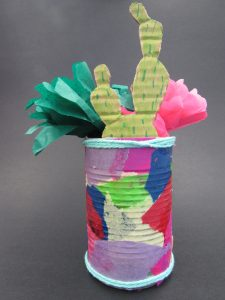 tin can and tissue paper still life sculpture by a student in the Saturday Studio for Kids at NAU