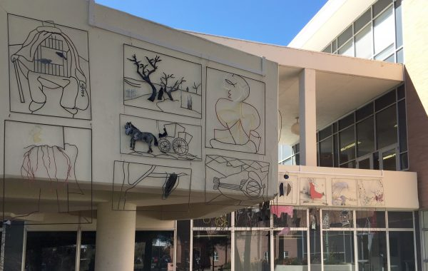 Steel relief sculptures installed on the exterior of NAU's Performing and Fine Arts building
