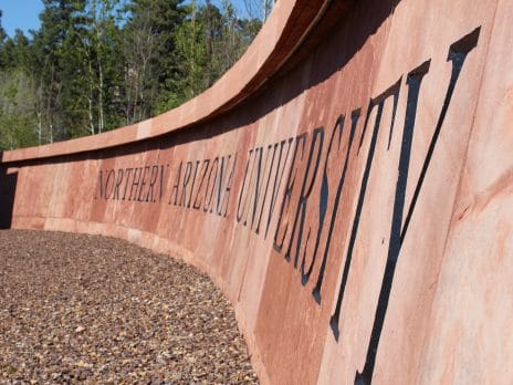 nau marquee on south campus with letters carved into stone