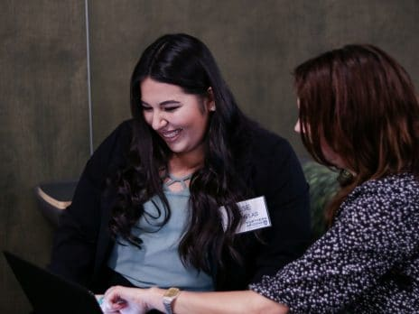 Two young NAU alumni connect at the Alumni Student Networking 2017