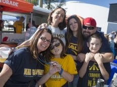 nau alumni family having fun tailgating at homecoming 2015