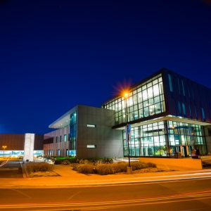 Campus Recreation building at night