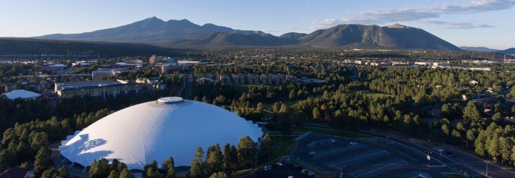 nau campus photo taken by drone on campus in Flagstaff