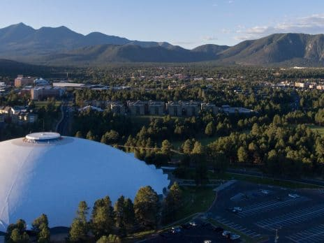 nau campus photo taken by drone on campus in Flagstaff