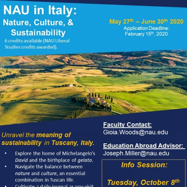 Flyer for NAU in Italy