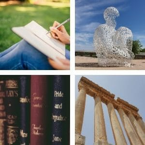 image of person writing, statue made of letters, books, and columns