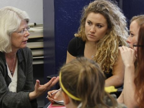 professor kosso engages in discussion with students