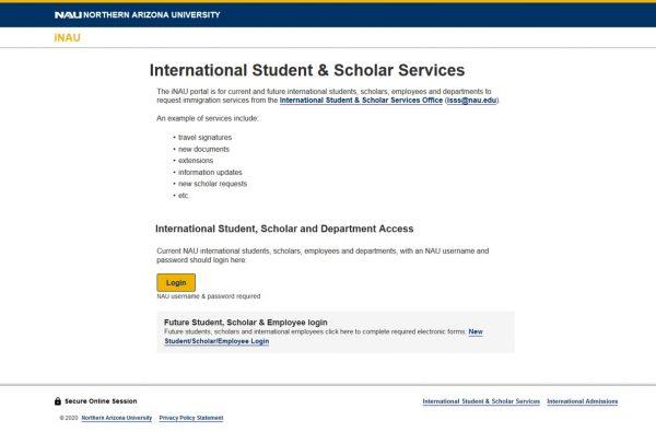 A screenshot of the iNAU service homepage