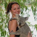 NAU student holding a koala.