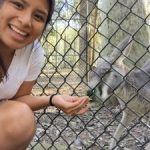 NAU student with a kangaroo in Newcastle.