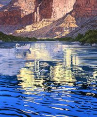 A brightly colored painting of a lake against against a mountain range
