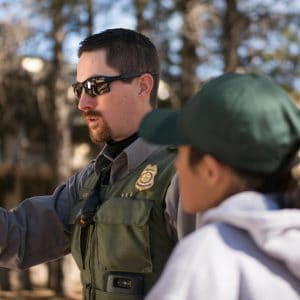 NAU GPR student learns from a Park Ranger