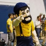 nau's mascot louie the lumberjack at a football game
