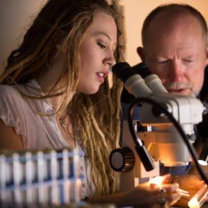 nau graduate college student works with professor using a microscope