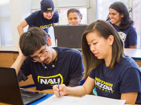photo of students in NAU's math department studying