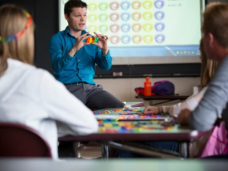 NAU teacher explaining math teaching tools