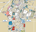 NAU campus map with building numbers labeled