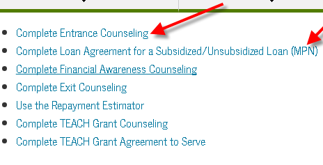 Award Letter screenshot: Complete a Master Promissory Note and Entrance Counseling