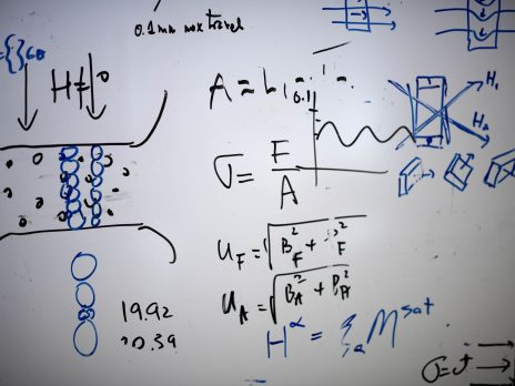 photo of math on a white board
