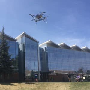 photo of a drone flying on nau campus