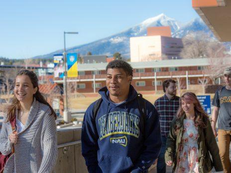 photo of nau students walking around campus