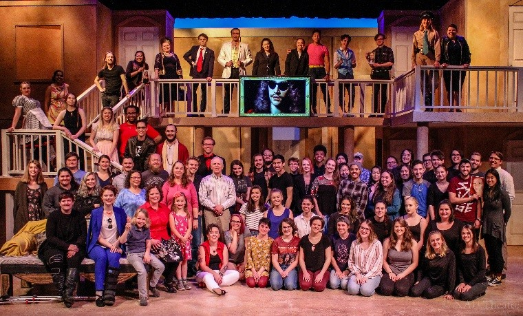 NAU Theatre students and factuly pose onstage