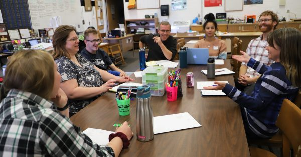 A Northern Arizona professor meets with a group from the Coconino High School Transition from School to Work program for students with intellectual or developmental disabilities group